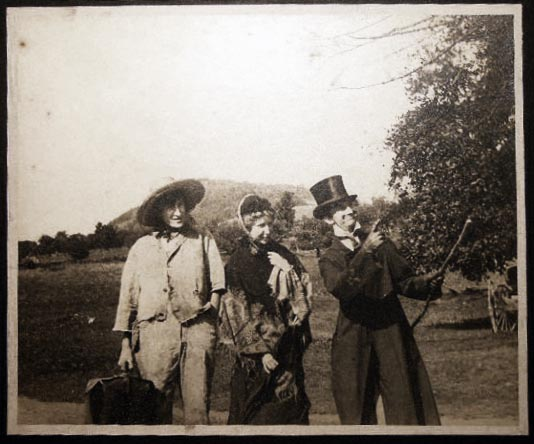Circa 1910 Large Format Photograph of 3 Young People in Humorous Period Costume. Americana - 20th Century - Photography - Costume - Entertainment.