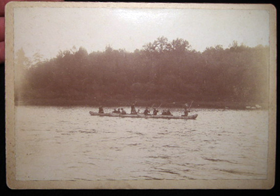 Circa 1880 Cabinet Card Photograph of Fishermen and Guides in Canoes. Americana - 19th Century - Photography - Sporting history.