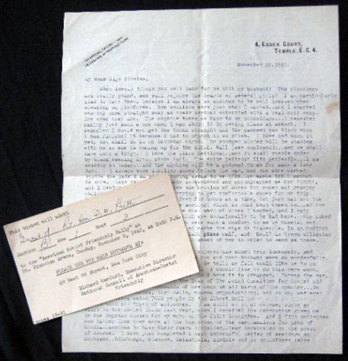1947 Typed Letter Signed By Molly Pritt, Wife of Denis Nowell Pritt (1887 - 1972) British Lawyer and Political activist, Regarding Her Political Activities and Her Husband, for the Cause of Communism in the UK and the United States. Great Britain - 20th Century - Communism - Molly Pritt - Dennis Nowell Pritt.