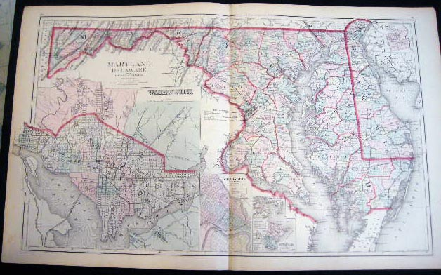 Original Double-Page Hand-Colored Map of Maryland Delaware and the District of Columbia (and) Map of Richmond Henrico County, Virginia (and) Baltimore. Map - Cartography - 19th Century - O. W. Gray - Maryland - Delaware - District of Columbia - Washington DC - Baltimore - Richmond Virginia.