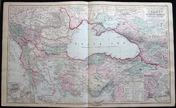 Original Double-Page Hand-Colored Gray's New Map of the Countries Surrounding the Black Sea, Comprising Turkey in Europe and Part of Turkey in Asia Greece (Hellas) Southern Russia Etc. By Frank Gray (and) Map of Russia (and) Map of France. Map - Cartography - 19th Century - O. W. Gray - Turkey - Greece Russia - France.