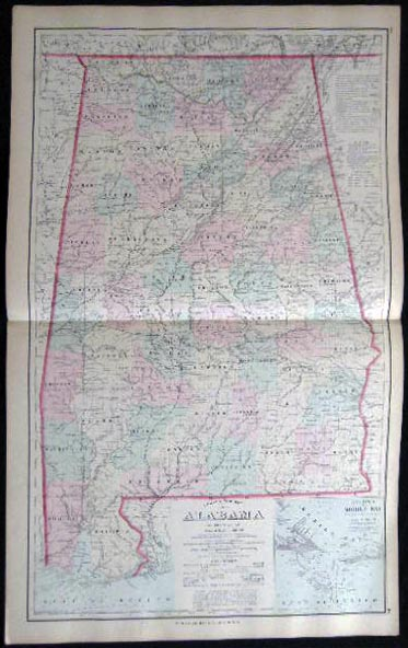 Original Double-Page Hand-Colored Gray's New Map of Alabama By Frank A. Gray. Map - Cartography - 19th Century - O. W. Gray - Alabama.