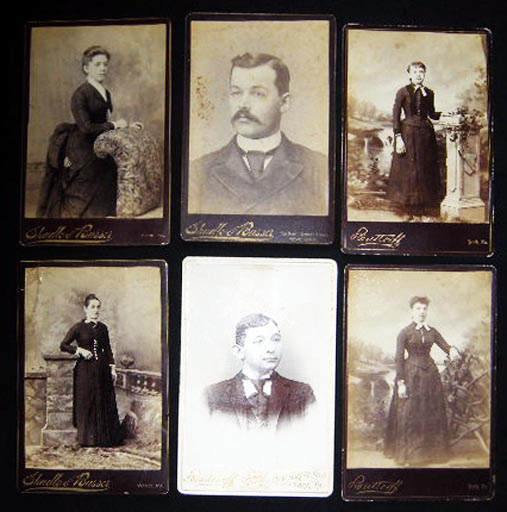 Circa 1880 Group of 6 Photo Portrait Cabinet Cards: York, Pennsylvania By Butteroff & Shadle & Busser. Americana - 19th Century - Photography - York Pennsylvania.
