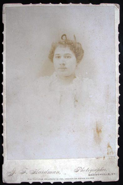 Circa 1880 Photographic Portrait Cabinet Card: J.F. Hardman, Madisonville Kentucky. Americana - 19th Century - Photography - Madisonville Kentucky.