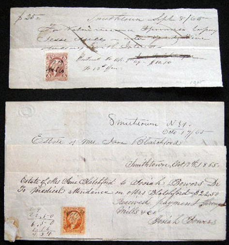 1865 Manuscript Promissory Notes with Revenue Stamps Estate of Mrs. Jane Blatchford, Smithtown, Long Island New York. Americana - 19th Century - Business History - Long Island New York - Smithtown - Manuscript.