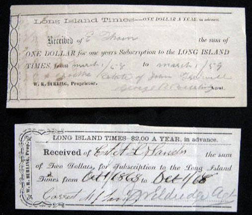 1858 & 1868 Manuscript Subscription Receipts for the Long Island Times, W.R. Burling Prop. Long Island New York. Americana - 19th Century - Business History - Long Island New York - Newspaper Industry - Manuscript.