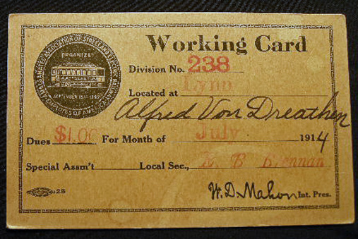 1914 Working Card Amalgamated Association of Street and Electric Railway Employees of America Division 238 Lynn. Americana - 20th Century - Labor History - Amalgamated Association of Street, Electric Railway Employees of America.