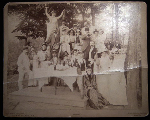 Circa 1885 Large Format Cabinet Card Photograph of a Bowling Party Given By Miss Gumbel Cooke of New Orleans at White Sulphur Springs By Geo. Prince. Americana - 19th Century - Photography - Greenbrier - West Virginia.