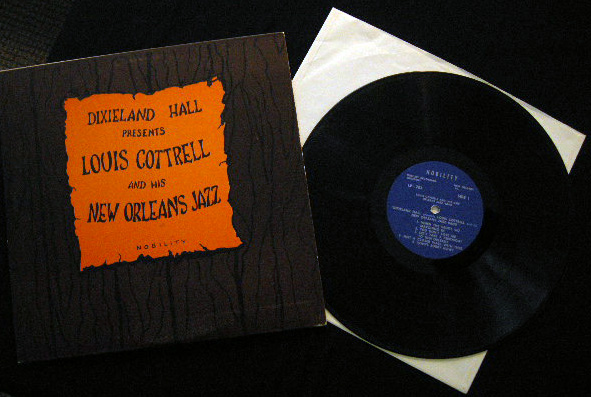 Dixieland Hall Presents Louis Cottrell and His New Orleans Jazz Band - Signed By Louis Cottrell - Kid Howard - Frog Joseph - Placide Adams. African - American - Music History - Autographs.