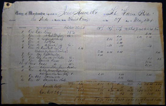 1864 Double-page Port of Philadelphia Manuscript & Printed Bill of Lading Entry of Merchandise Customs Duties for the Schooner Laura Pride, from St. Croix for a Cargo of Rum, Sweetmeats & Seeds, Calabashes Imported By John Mason Co. Americana - 19th Century - Civil War - Shipping - Customs Duties.