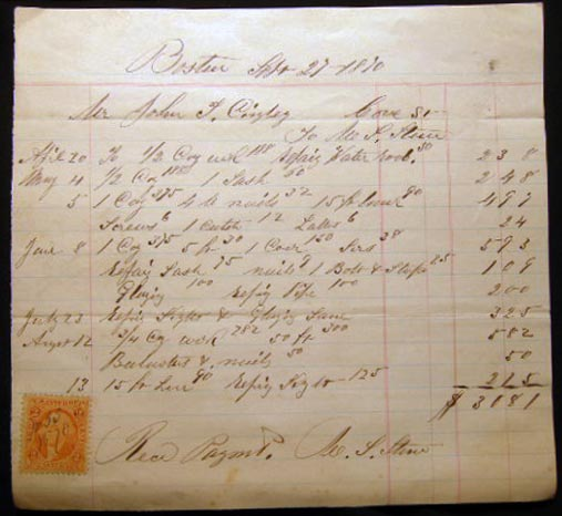 1870 Detailed Billing for Home Carpentry Work By M.S. Stone for a Home on Cove Street, Boston Massachusetts with Revenue Stamp. Americana - 19th Century - Manuscript - Boston - Occupational History - Carpentry.