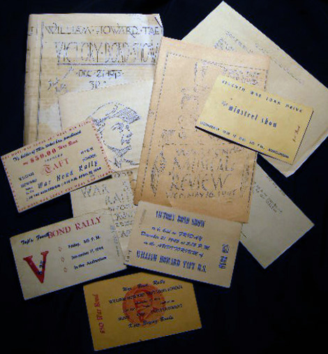 1943 - 1945 Group of Flyers and Tickets for Victory Bond Shows and Rallies William Howard Taft High School Bronx New York. Americana - 20th Century - New York City - Education History - William Howard Taft High School - World War II - Victory Bonds.