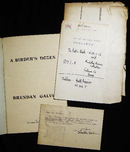 A Birder's Dozen (with) a Typed Postcard Signed from the Author & Related Ephemera. Brendan Galvin.