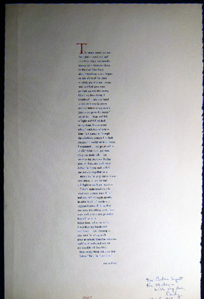 The Same Words are Not the Same Poetry Broadside Signed and Inscribed By Andrea Wyatt. Americana - 20th Century - Literature - Poetry - Andrea Wyatt - Fine Press - Oyez.