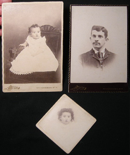 Circa 1895 Two Cabinet Card Photographs and One Smaller Mounted Image of A Baby & A Gentleman By Lowens Photographer Riverhead Long Island New York. Americana - 19th Century - Photography - Long Island - Riverhead.