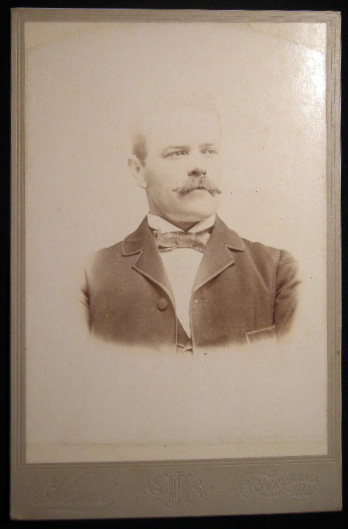 Circa 1895 Cabinet Card Photograph of a Mustachioed Gentleman By J.H. Hand, Photographer Riverhead Long Island New York. Americana - 19th Century - Photography - Long Island - Riverhead.