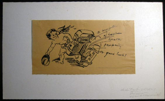 1938 Original Pen & Ink Artwork on Paper New Year's Greeting Titled & Dated By Claude Remusat, Given to Paul C. Blum. Art - 20th Century - France - Claude Remusat.