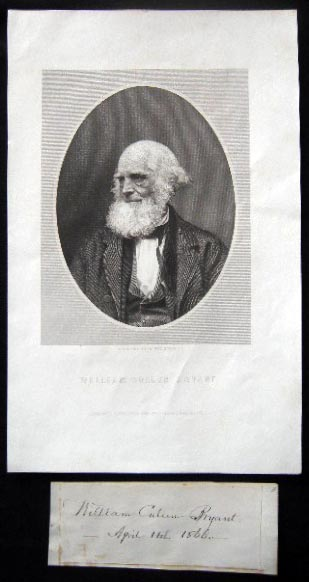 1866 Signature and Date of April 14th By William Cullen Bryant (with) an Engraved Portrait of the Author By W. Wellstood. Americana - 19th Century - Autograph - William Cullen Bryant.
