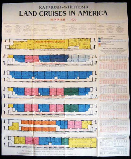 Poster for the Summer 1929 Raymond-Whitcomb Land Cruises in America Plan of Cruise Trains. Americana - 20th Century - Transportation - Railroad - Tours - Raymond-Whitcomb.