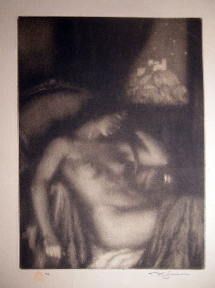 """1922 Female Nude Mezzotint """"The Evening"""" (Dreaming) By Czech Artist Tavik Frantisek Simon (1877 - 1942) Signed & with Seal. Art - 20th Century - Czech - Tavik Frantisek Simon."""