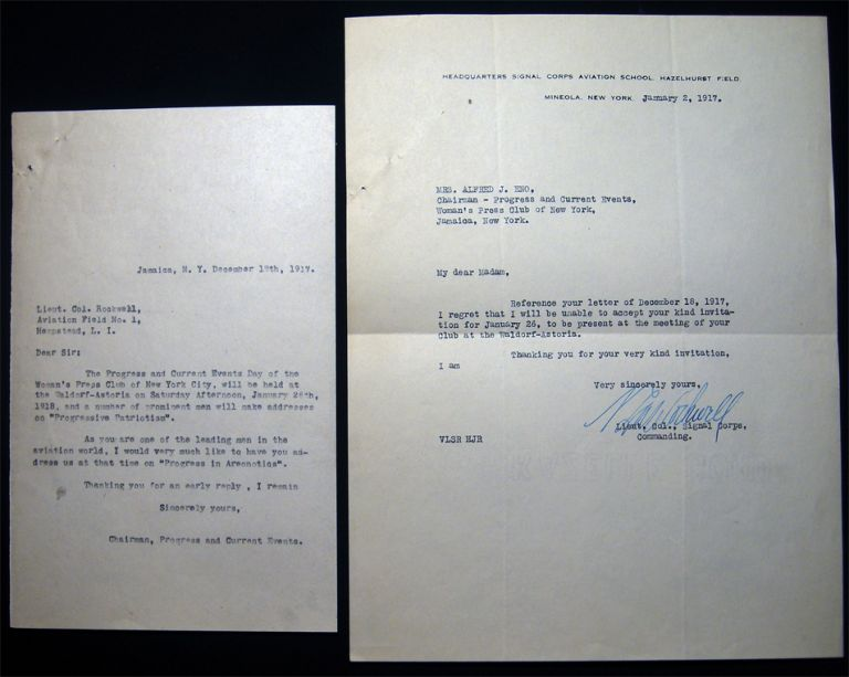 1917 Typed Letter Signed from Lieutenant Colonel Rockwell, Signal Corps, Commanding Headquarters Aviation School Hazelhurst Field Mineola, NY Regarding a Speaking Engagement at the Woman's Press Club of New York. Americana - WWI - Aviation.