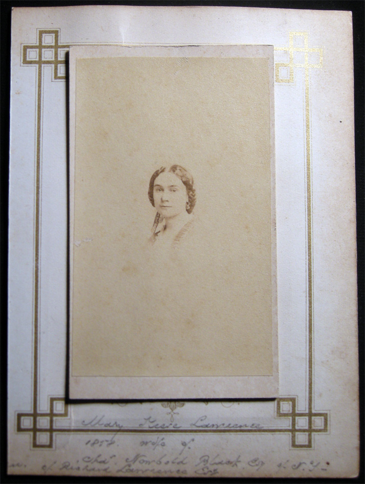 1858 Carte-de-Visite Photograph of Mary Keese Lawrence Black By Rockwood, Photographer, 839 Broadway, N.Y. Americana - 19th Century - Photography - New York.