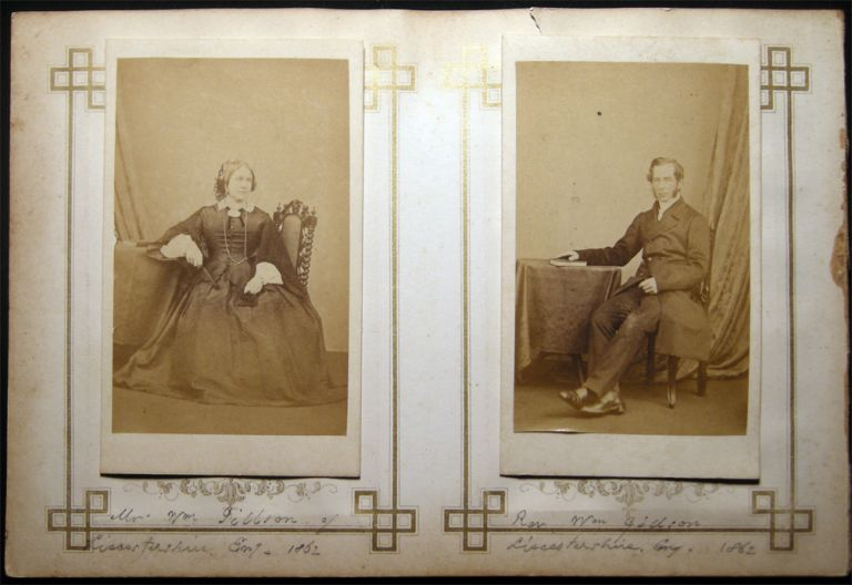 1862 Carte-de-Visite Photographs of the Rev. Wm. Gibbson and Mrs. Gibbson of Leicestershire England By C. Oakeshott, Photographer, 9, Pier Street. Ryde, I.W. Isle of Wight - 19th Century - Photography - C. Oakeshott.