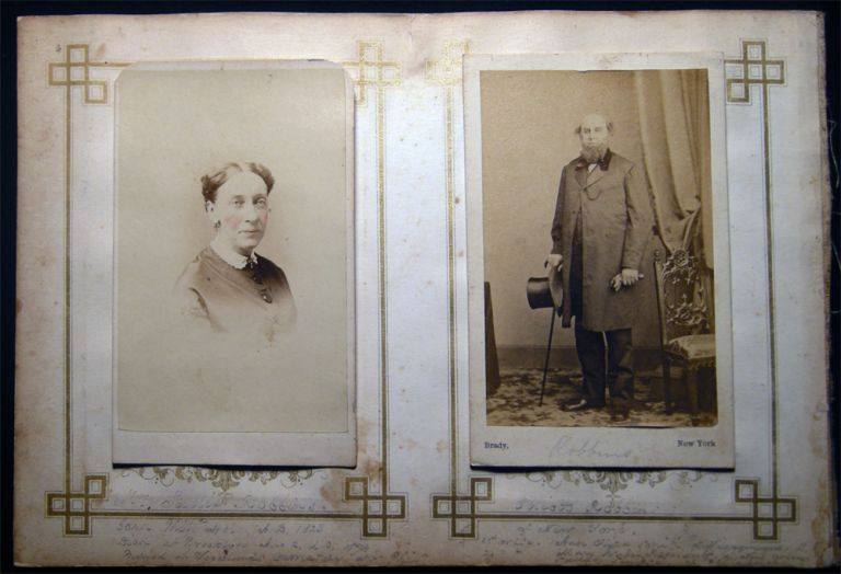 Circa 1860 Carte-de-Visite Photographs of Elliott Robbins By Brady, NY and Mrs. Sadie Robbins By H. Manger's Photograph Gallery Philadelphia. Americana - 19th Century - Photography - Smith Family - Smithtown - Long Island - New York.
