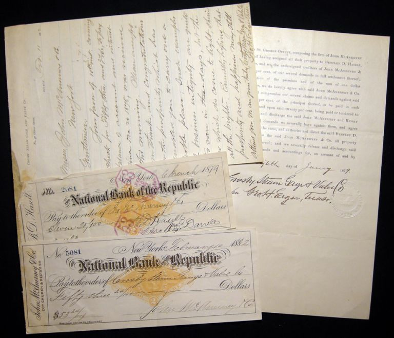 1882 Letter Signed with Related Ephemera, From the Crosby Steam Gage and Valve Co., Boston Massachusetts Regarding the Resolution of a Bankruptcy and Payments. Americana - 19th Century - Manuscript - Business History - Crosby Steam Gage, Valve Co. - Boston.