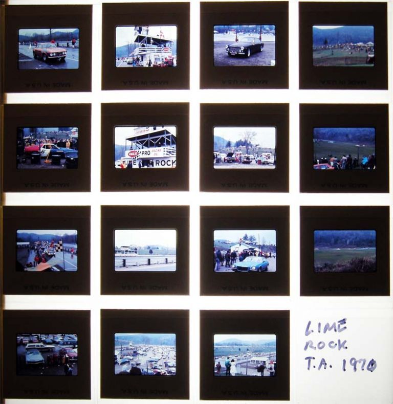Circa 1971 Group of 35mm Color Slides of Race Activities & Cars at Lime Rock Park, Lakeville Connecticut. Americana - 20th Century - Photography - Automobile Racing - Lime Rock Park.