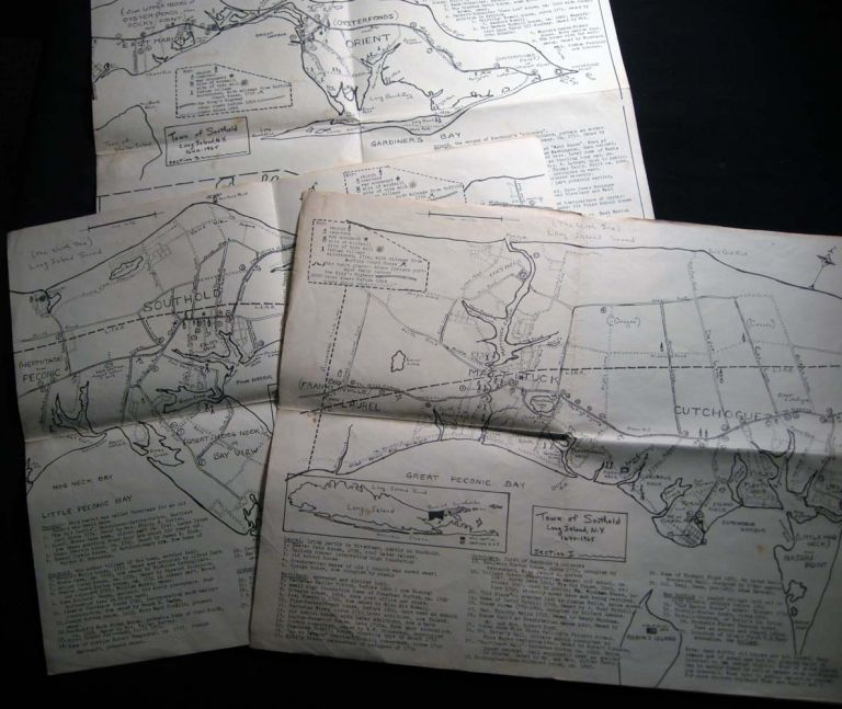 Three Maps of the Town of Southold Long Island, N.Y. 1640 -1965. Americana - 20th Century - Cartography - Southold - Long Island New York.
