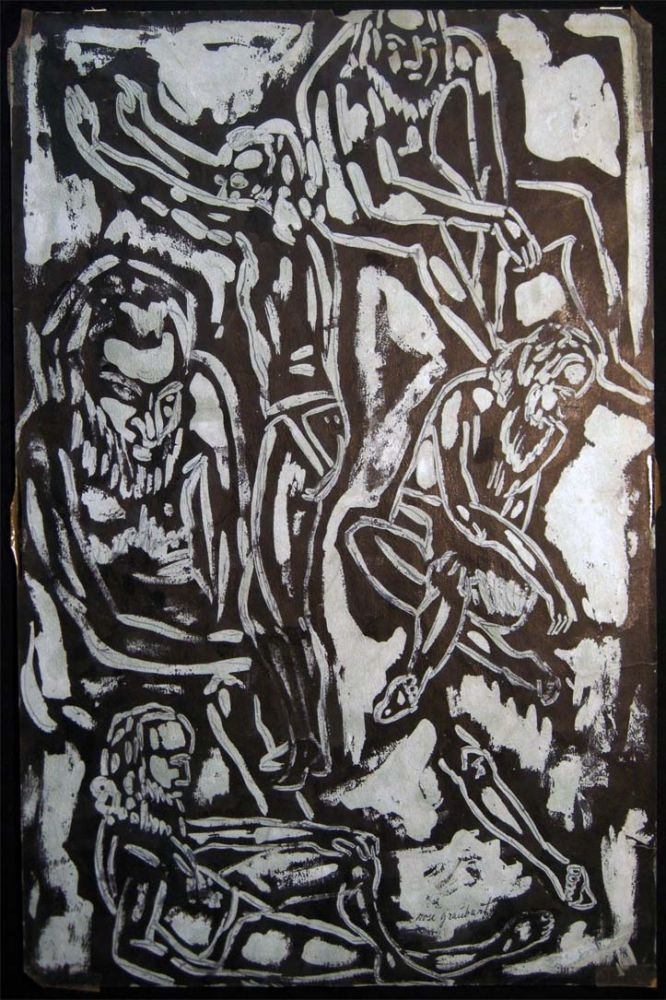Circa 1955 Abstract Group of Bearded Males Figural Composition, Ink on Paper Art Signed by Rose Graubart Ignatow (1914- 1995). Art - 20th Century - Rose Graubart Ignatow - East Hampton - New York.