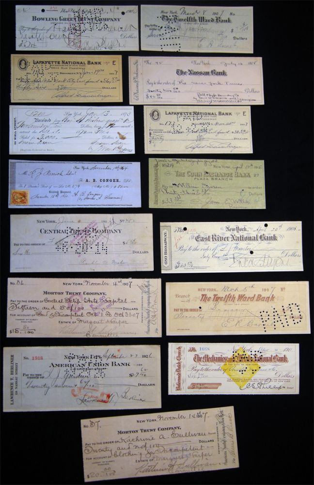 1864 - 1937 Group of Checks & Other Financial Instruments Drawn on New York City Banks: The Nassau Bank, Lafayette National, Morton Trust, East River National, Twelfth Ward Bank, Mechanics and Metals National, Bowling Green Trust, Corn Exchange and Others. Americana - 19th-20th Century - Manuscript - Banking History - Finance - New York.