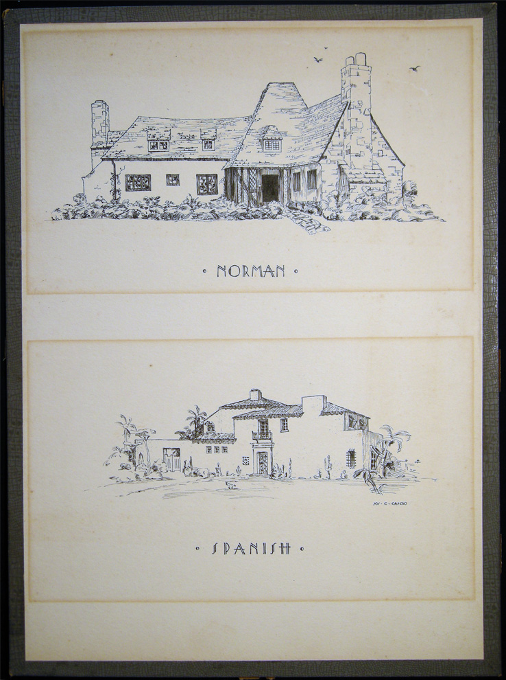 Circa 1920 Two Finely Drawn Pen and Ink Drawings of the Exteriors of Norman and Spanish Style Homes Signed By Joseph C. Cascio. Art - 20th Century - Architecture.