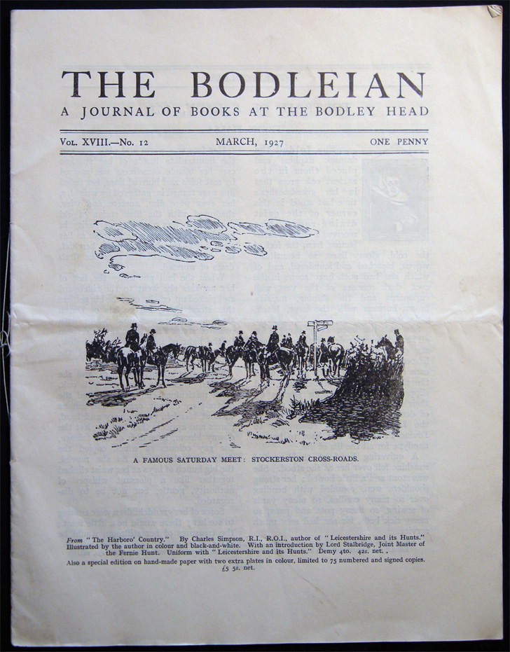 The Bodleian a Journal of Books at the Bodley Head Vol. XVIII. No. 12 March, 1927. Publishing History - 20th Century - John Lane The Bodley Head Limited.