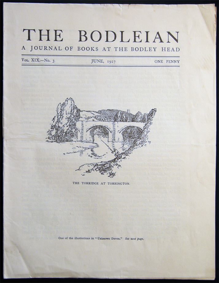 The Bodleian a Journal of Books at the Bodley Head Vol. XIX. No. 3 June, 1927. Publishing History - 20th Century - John Lane The Bodley Head Limited.