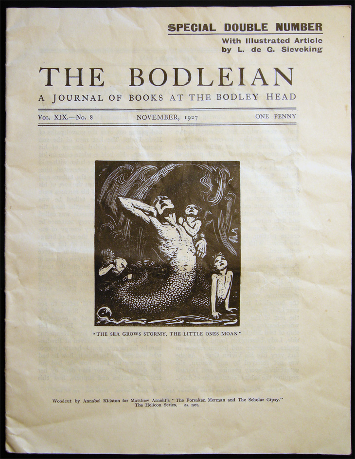 The Bodleian a Journal of Books at the Bodley Head Vol. XIX. No. 8 November, 1927 Special Double Number with Illustrated Article By L. De G. Sieveking. Publishing History - 20th Century - John Lane The Bodley Head Limited.