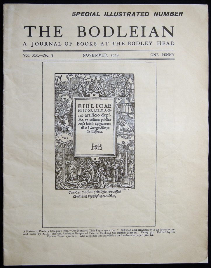 The Bodleian a Journal of Books at the Bodley Head Vol. XX. No. 8 November, 1928 Special Illustrated Number. Publishing History - 20th Century - John Lane The Bodley Head Limited.