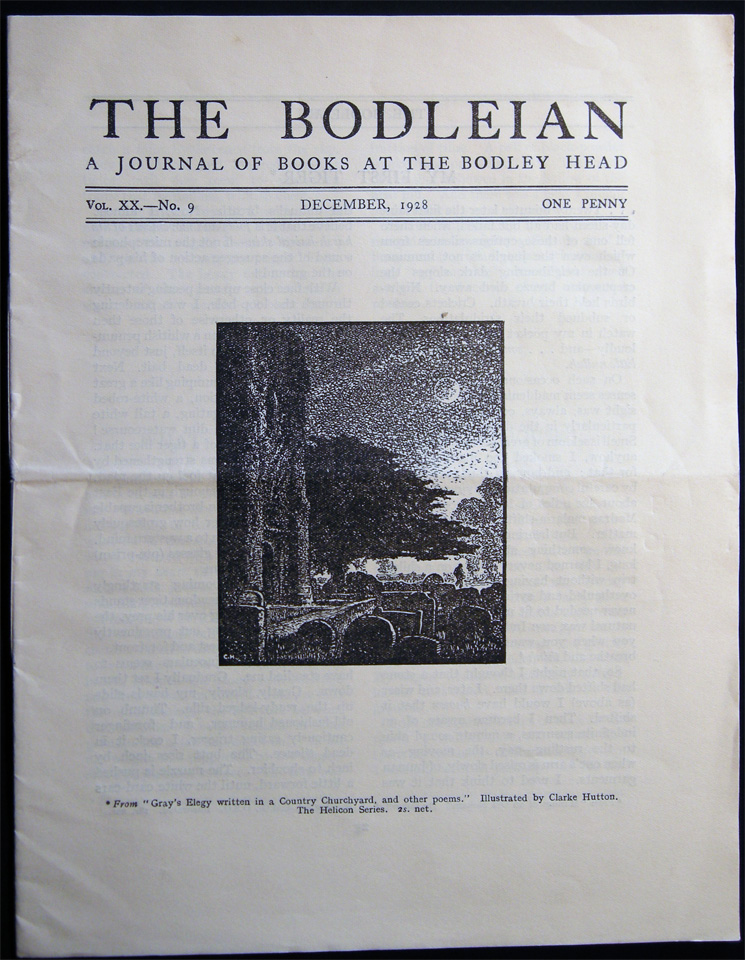 The Bodleian a Journal of Books at the Bodley Head Vol. XX. No. 9 December, 1928. Publishing History - 20th Century - John Lane The Bodley Head Limited.