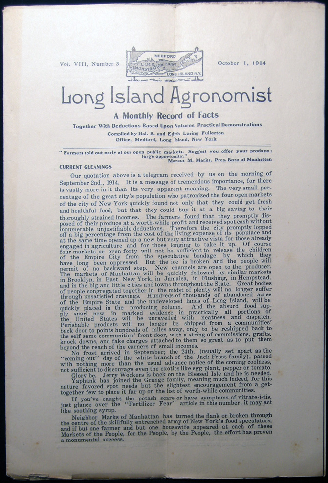 Long Island Agronomist Vol. VIII, Number 3 October 1, 1914 A Monthly Record of Facts Together with Deductions Based Upon Natures Practical Demonstrations Compiled By Hal. B. And Edith Loring Fullerton. Americana - 20th Century - Long Island - New York - Farming History - LIRR Demonstration Farm.