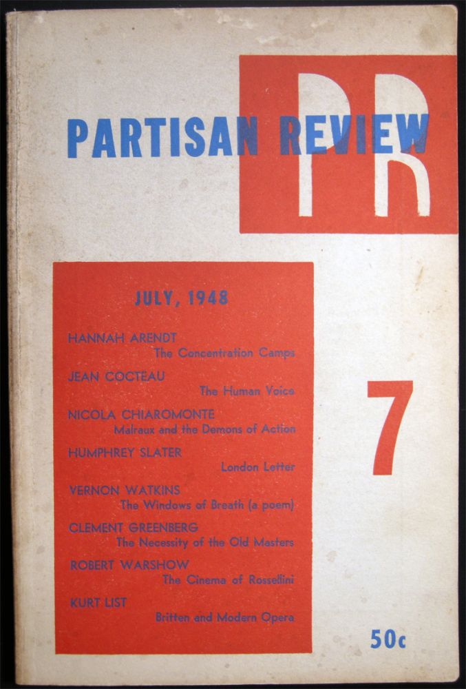 Partisan Review July, 1948 Volume XV, No. 7. Americana - 20th Century - Periodical - Literature - Partisan Review.