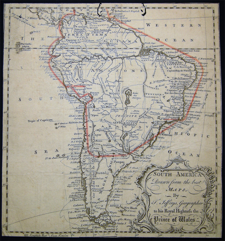 South America Drawn from The best Maps, By T. Jefferys, Geographer to His Royal Highness the Prince of Wales (with) Hand-drawn Journey Route. Map - South America - 18th Century - Thomas Jefferys.