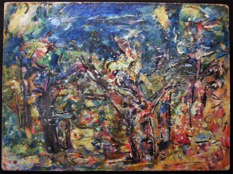 Circa 1965 Original Acrylic and Ink on Cardstock Abstract Woodland Scene Art by Rose Graubart Ignatow (1914- 1995). Art - 20th Century - Rose Graubart Ignatow - East Hampton - New York.