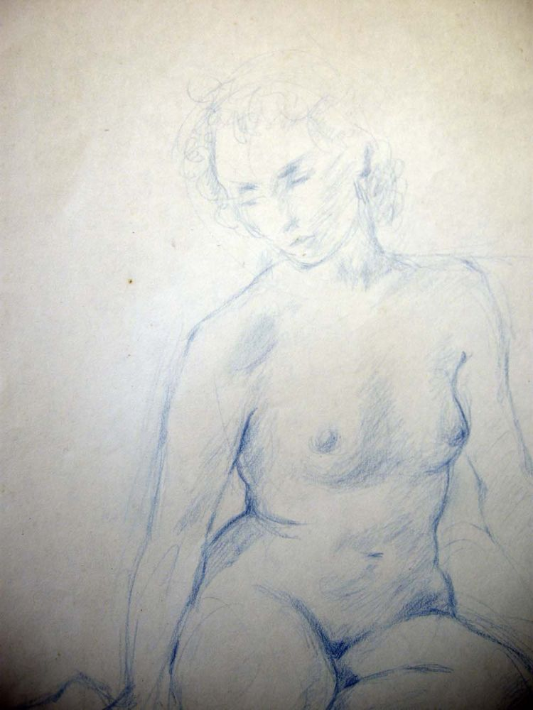 1990 Seated Female Nude Drawing in Blue Pencil Signed S. Baer '90. Art - 20th Century - Drawing.