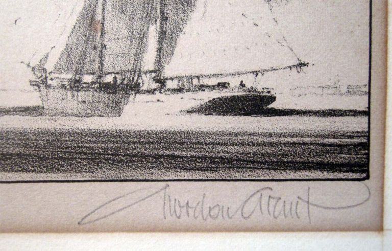 Off Shore Signed Original Lithograph By Gordon Grant. Americana - 20th Century - Art - Nautical - Gordon Grant.