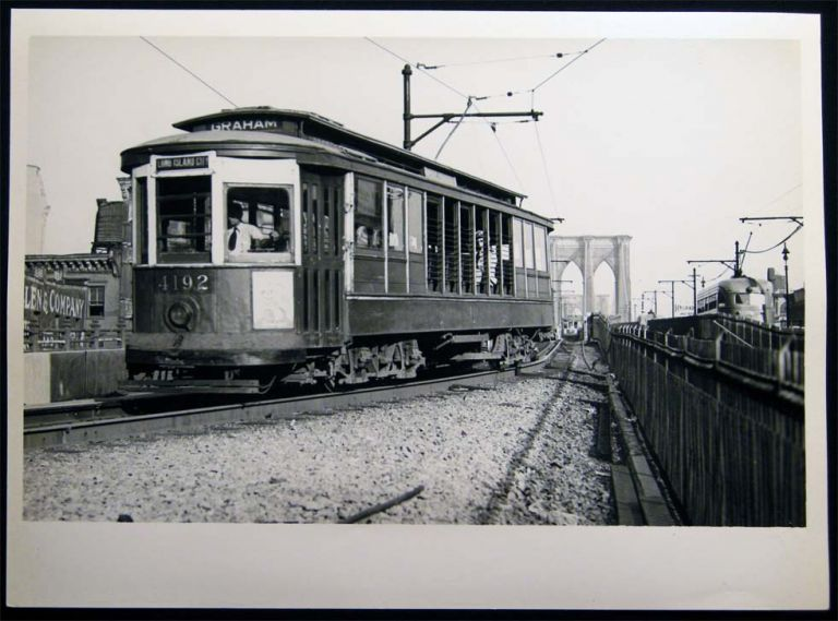 Photograph of New York City Transit Streetcar Railway Car Coming Off the Brooklyn Bridge at Park Row 1946. Americana - 20th Century - Photography - Transportation - Rail.