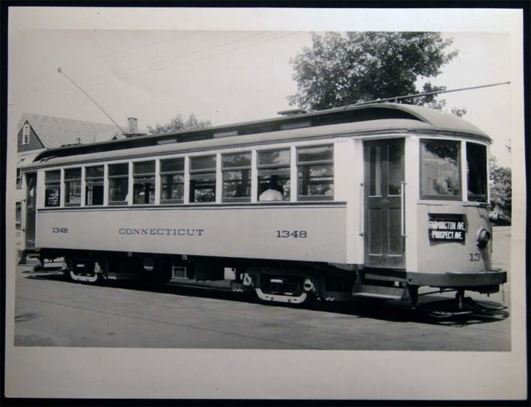 Photograph of Connecticut Co. Streetcar Railway Car on Prospect Ave. In Hartford, CT. Americana - 20th Century - Photography - Transportation - Rail.