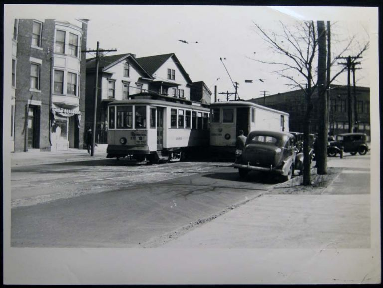 Photograph of Connecticut Co. Streetcar Railway Cars on State St. In New Haven 1940. Americana - 20th Century - Photography - Transportation - Rail.