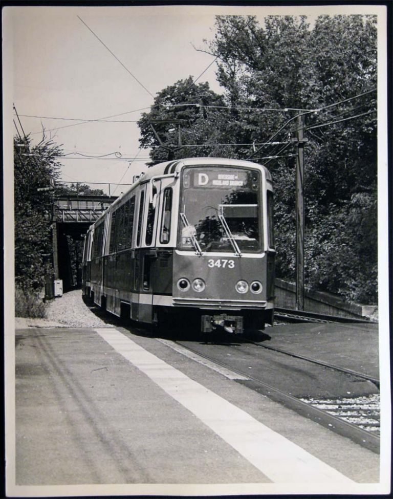 Photograph of MBTA Green Line Streetcar Railway Cars Outbound at Newton Center, Mass. Americana - 20th Century - Photography - Transportation - Rail.