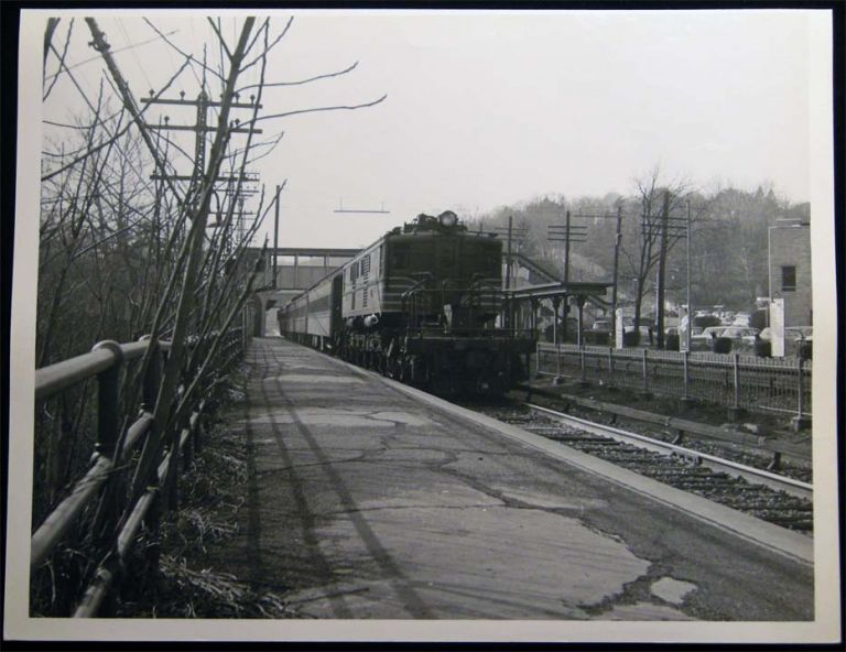 Photograph of the New York Central Northbound at Hartsdale, NY 1965. Americana - 20th Century - Photography - Transportation - Rail.